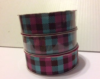 """7/8"""" Pink, Blue and Brown Plaid Ribbon"""