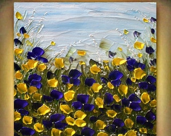 SALE Modern Abstract  Heavy  Impasto Palette Knife  Purple  Yellow Flowers  Acrylic Made2Order   Painting.