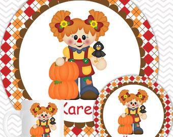 Scarecrow Girl Plate & Bowl Set - Personalized Scarecrow Plate Set - Customized Plate and Bowl - Melamine Plate and Bowl Set for Kids