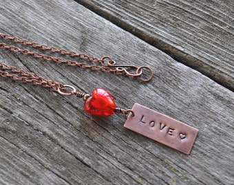 LOVE Handstamped Necklace with Red Lampwork Heart Oxidized Copper Necklace