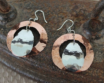 Silver Copper Hoop Earrings
