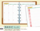 A5 BASIC PLANNER BUNDLE - Printable A5 Planner Inserts - Stationery Theme - 21 sheets