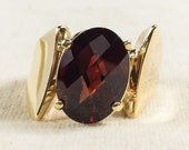 Bold Retro 14K Yellow Gold 5.00ct Oval Checkerboard Faceted Deep Red Garnet Natural Gemstone High Polished Sleek MInimal Ring FREE SHIPPING!