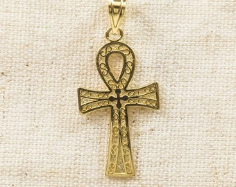Unique 14K Yellow Gold Religious Egyptian Cross Polished & Textured Finish Swirl Motif Detailed Charm Pendant - 0.8 grams FREE SHIPPING!