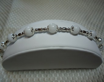 White Jade and Sterling Silver Bracelet   1806