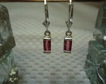 Baguette Cut Pink Tourmaline Dangle Leverback Earrings in Sterling Silver