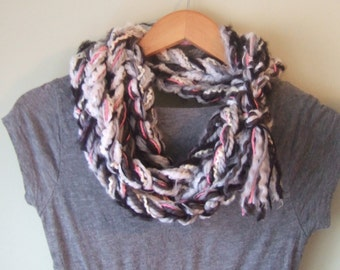 Boho Scarf Necklace .. OOAK .. Crochet Scarf .. Black Scarf .. Coral Scarf .. Chunky Chain Scarf .. One of a Kind