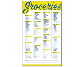 Guajolote Prints Magnetic Grocery List Notepad 5.75 x 9.5 Inches 50 Sheets Yellow and Blue