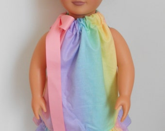 Rainbow Pillowcase dress for American Girl doll and 18 inch dolls