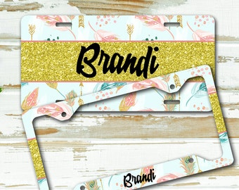 Monogram license plate or frame, Faux glitter, Gifts for grand daughter, Sweet 16, First car gift Light blue gold pink Aztec feathers (1677)
