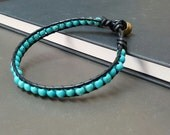 Turquoise   Black  Leather Bracelet