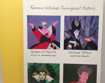 Vintage disney greeting card with queen of hearts malificent