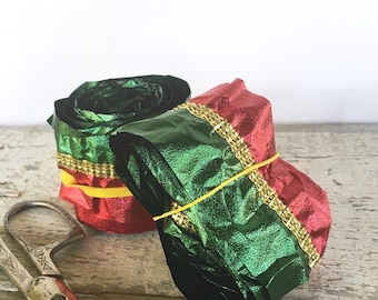 Vintage Red, Green and Gold Floral Ribbon