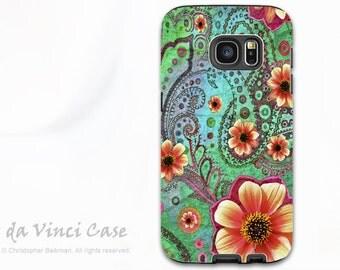 Paisley Floral Galaxy S7 Case - Premium Dual Layer Galaxy S 7 Case - Paisley Paradise - Green and Orange Samsung Galaxy S7 Case
