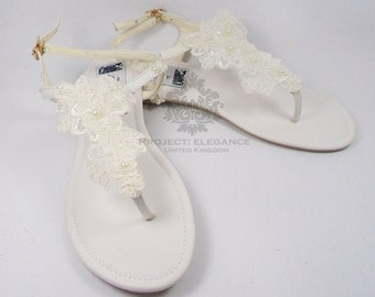 Anya - Ivory Pearl & Lace Vintage Flat Sandal Beach Shoes