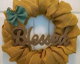 BLESSED burlap wreath
