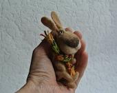 Felted hare Wool rabbit Needle felted bunny Tini hare Bunny figurine Felted animal Dollhouse miniature