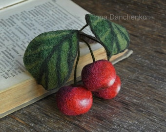 Red cherry brooch, Wool Brooch Cherry, Needle felted brooch, Red Cherry needle felted brooch, Felt Wool Fruits