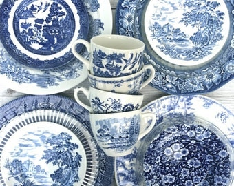 Service for 4 Blue & White Mismatched China - Transfer Ware - Plates Tea Cup - Blue Willow - Churchill - Staffordshire Ironstone