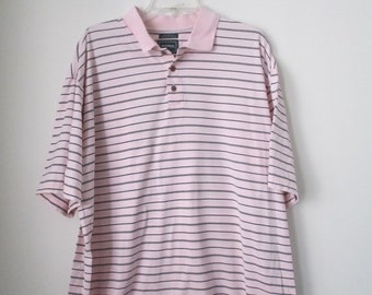 80% Off WINTER SALE Mens Vintage Light Pink Navy Blue Striped Polo Collared Short Sleeve Polo Shirt Sz XL