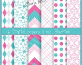 Digital paper BLUE,pink, 6 papers png ,paper pack rétro,circle,dots,flowers,instant download