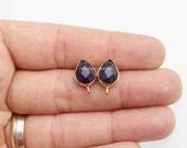 earrings post connector amethyst stud with loop hoop link faceted teardrops blank Bezel - pears gold plated