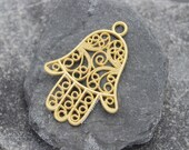 hand of hamsa fatima cord leather pendant charm gold plated 57mm filigree fretwork supplies mdla249