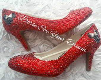 Swarovski Crystal Rhinestone Disney Minnie Mouse Bridal Heels - Disneyland - Disney World Bride - Wedding Shoes - Custom Shoes