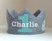 Felt Crown, Birthday Crown, Winter Onederland, Winter, Woodlands, Personalized