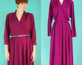 Vintage 80s Fuschia Dress - Purple Dolman Sleeve Wrap Dress - Long Midi Dress - Maxi Dress - Warm V Neck Secretary Dress - Size Medium