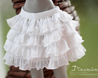 White ruffle skirt -for 1/4 mini bjd