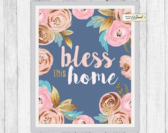 Bless this Home - Quote Print - Wall Decor - 8 x 10 inch - Art Calligraphy Poster
