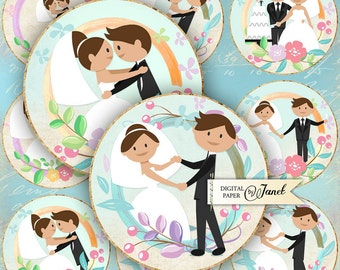 Wedding Day - 2.5 inch circles - set of 12 - digital collage sheet - pocket mirrors, tags, scrapbooking, cupcake toppers