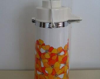 Hot Cold Pump Pot Thermos King Beverage Dispenser Orange Floral Flowers Mid Century Modern 1.9 Liter