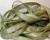 Celedon Crinkle Essence 1/2in. x 42 in. single ribbon// Essence Wrist Wrap Bracelet Ribbons //by Color Kissed Silk LLC.