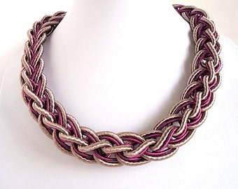 Mauve Rose necklace, Magenta necklace, Collar necklace, Bib necklace,  Berry Purple necklace, short necklace, silk cord necklace, mauve pink