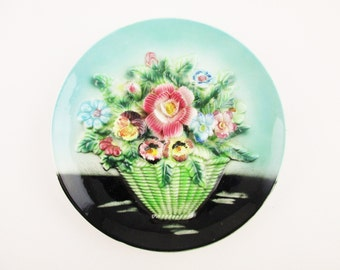 Capodimonte Wall Plate - Teal and Black - Wall Plate - Fabulous 3-D Flower Arrangement - Rose and Pansy Bouquet -