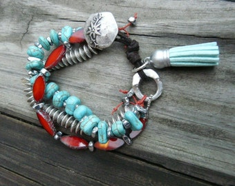 Southwest Inspired Bracelet.  Turquoise, Aurora red, and silver leather bracelet