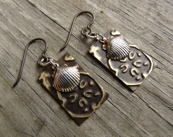 Vintaj Embossed Brass Earrings.  Silver and Brass.  Seashell and sand dollar earrings.  Hypoallergenic earrings.