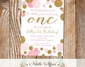 Pink Confetti Dots Sprinkles First Birthday Invitation - any age - pink gold and light pink birthday invitation