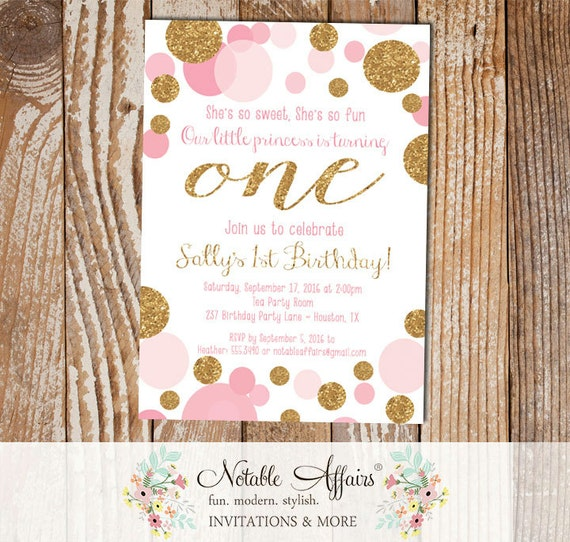 Pink And Gold Princess 1st Birthday Party Fresh Pink And: Pink Confetti Dots Sprinkles First Birthday Invitation