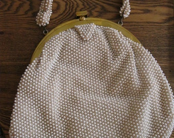 vintage corde bead white beaded purse 1960s never used