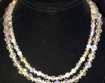 Stunning lead crystal necklace. Double stranded. Signed Laguna. High end. Old hollwood glamour. Full of prisms