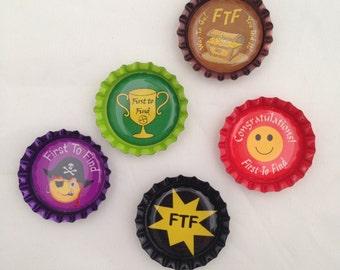 5 FTF Geocaching Bottle Caps - Geocaching Swag