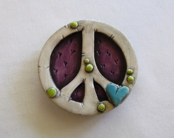 Rustic Peace Sign Magnet,  Whimsical Rustic Purple with Blue Heart Peace Sign