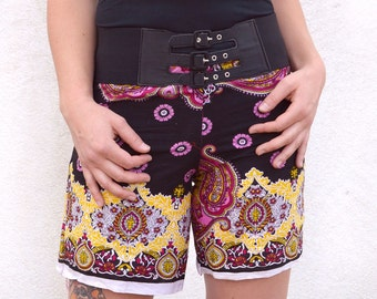 black paisley shorts, cotton shorts, pink shorts, beach coverup, drawstring short, booty shorts, hippie gypsy boho bohemian chic festival