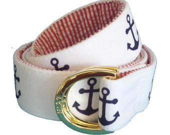 Navy Anchor with Red Seersucker/ Fabric Belt/Woman's D-Ring Belt/Preppy Belt/Anchor and Red Seersucker Fabric with Brass D-Ring Belt