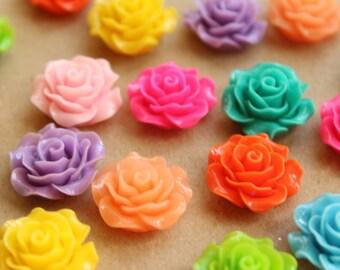 20 pc. Multi Colored Crisp Petal Rose Cabochons 18mm   RES-579