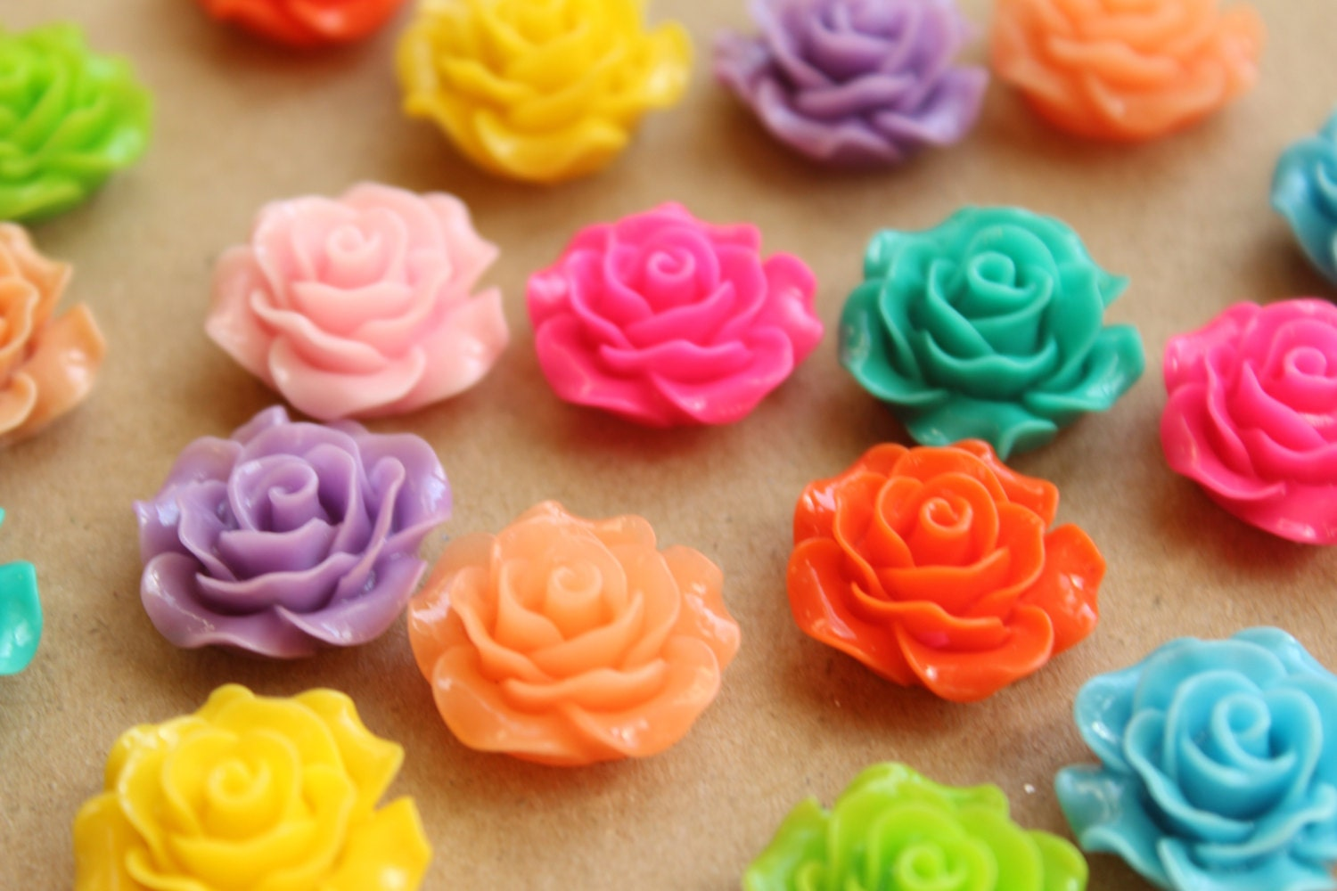 20 pc multi colored crisp petal rose cabochons 18mm res 579 for Multi colored rose petals