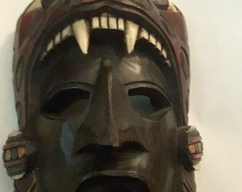 Mayan Carved Wooden Jaguar Tribal Mask